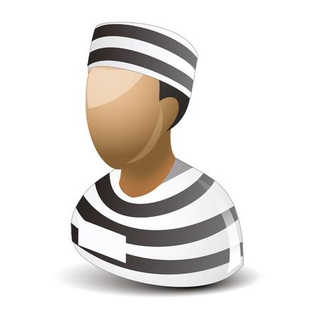 incarceration: Icono del hombre preso en el fondo blanco
