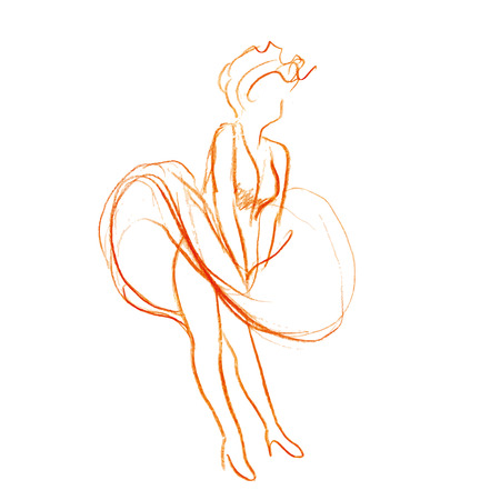 expanding: Sketch of beautiful woman with expanding skirt Illustration