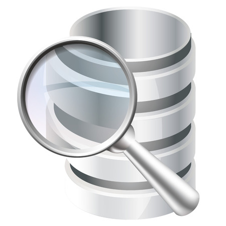 harddrive: Metal magnifier and database icon, concept of icon Search database
