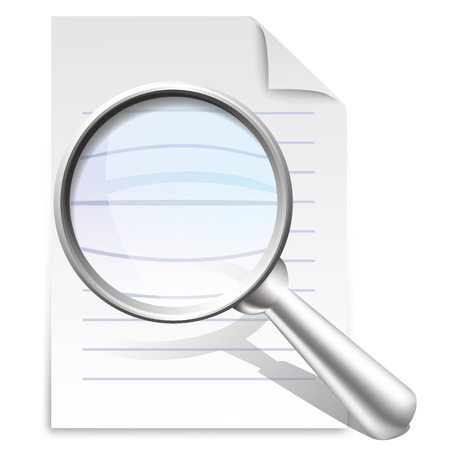 paper notes: Vector icon of search concept with office paper notes and magnifying glass Illustration