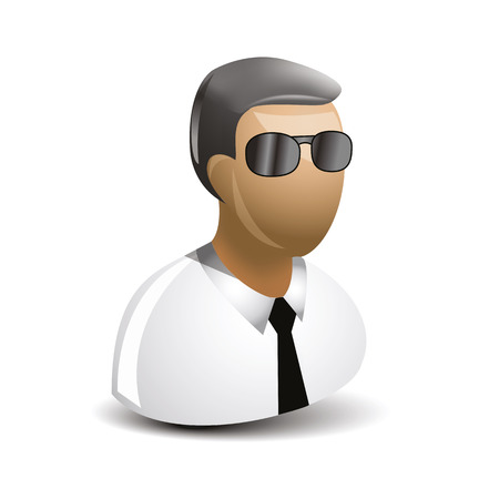 security man: icon of the security man with black glasses