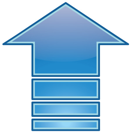 blue arrow: Upload icon of the blue arrow in up direction