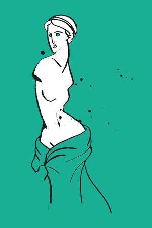 classical mythology character: whitr Venus caricature on the green background