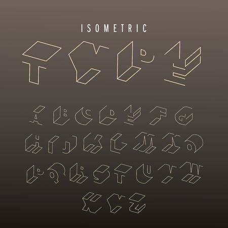 cartas antiguas: Alfabeto fuente esquema isom�trico. Cartas isom�tricos 3D. Tridimensional de composici�n tipogr�fica stock para los titulares, carteles, etc.