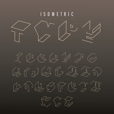 Isometric outline alphabet font. 3D isometric letters. Three-Dimensional stock typeset for headlines, posters etc.