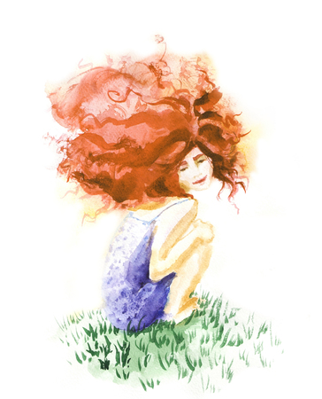 red hair: Happy girl with red hair on the grass, watercolor illustration Stock Photo