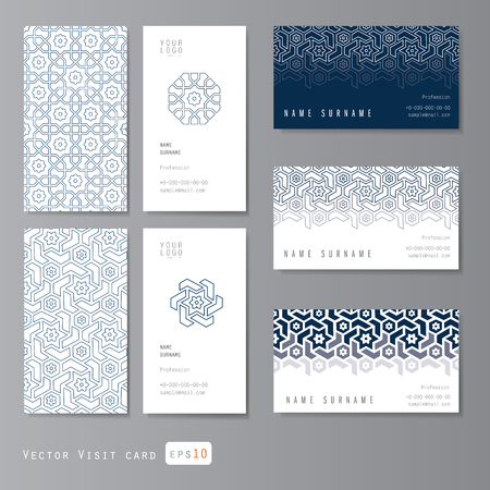 Visit cards set with islamic ornament