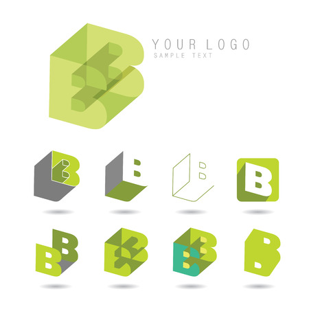 letter b: Set of letter B icons for corporate identity, element for sign and logo
