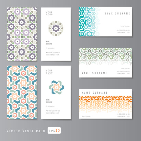 ramadan background: Visit cards set with islamic ornament