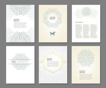 ramadan background: Banners set of templates with arabic ornament, vector illustration
