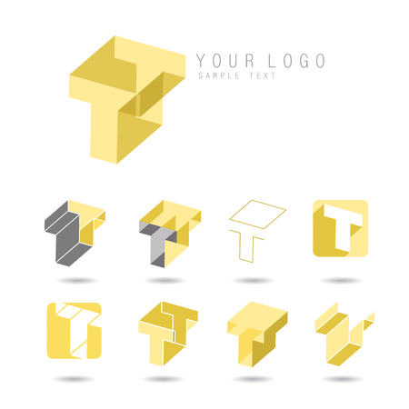 t square: Set of letter F icons for corporate identity, element for sign and logo Illustration