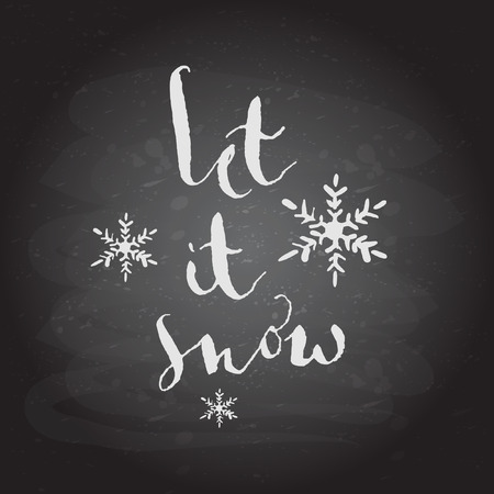 let it snow: Let it snow text. Christmas vector calligraphy. Handwritten modern chalk lettering. Hand drawn design elements. Illustration