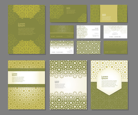 Banners and visit cards set  with arabic ornament, vector illustration