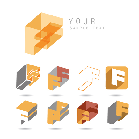 Set of letter F icons for corporate identity, element for your design Vektorové ilustrace