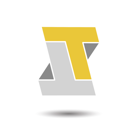 t square: Double letter T icon for corporate identity, element for sign