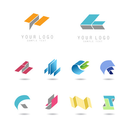 Abstract geometry icons set, elements for corporate identity, vector illustration