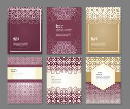 Banery zestaw szablonów z arabskiej ornament, ilustracji wektorowych Ilustracje wektorowe