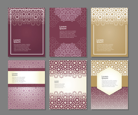religious backgrounds: Banners set of templates with arabic ornament, vector illustration