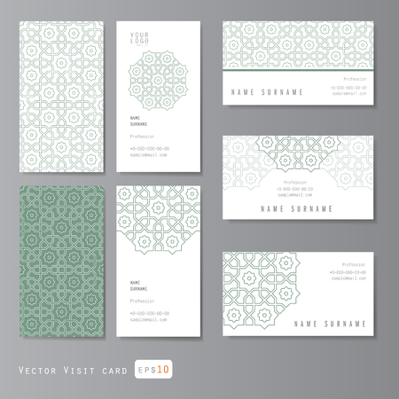 personal ornaments: Visit cards set with arabic ornament, vector illustration Illustration