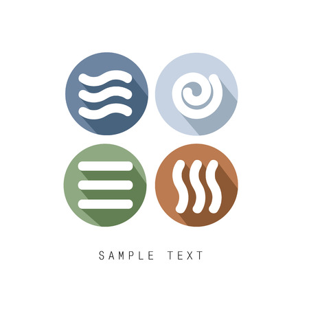 Four Natural Elements vector icon - Earth, Water, Air and Fire