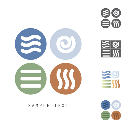 Four Natural Elements vector icons set - Earth, Water, Air and Fire Stock Vector - 52088593