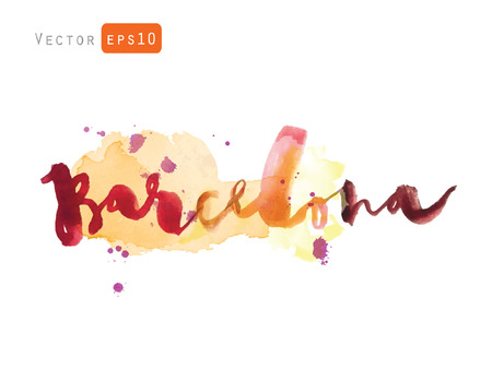 Barcelona. The hand drawn watercolor letters. Vector greeting card decoration. Lettering and typographic design. Vettoriali