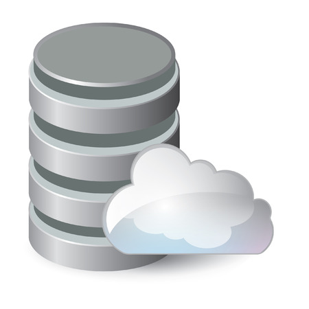 Network data server 3d cloud computing concept realistic vector illustration Ilustrace