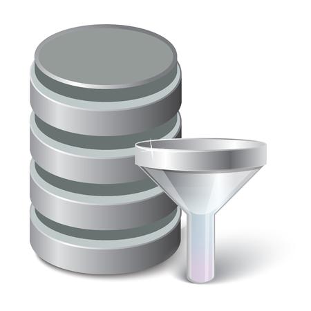 Filter data Icon. Vector illustration 3d style Vektoros illusztráció