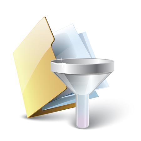 Filtre icône de dossier, dossier jaune avec du papier et un vecteur de filtre illustration sur fond blanc