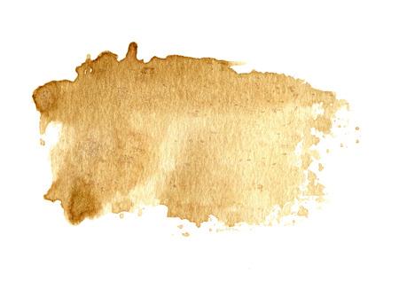 흰색에 고립 방울과 갈색 오래 된 종이 질감 배경, 커피 색상, 핸드 페인트,