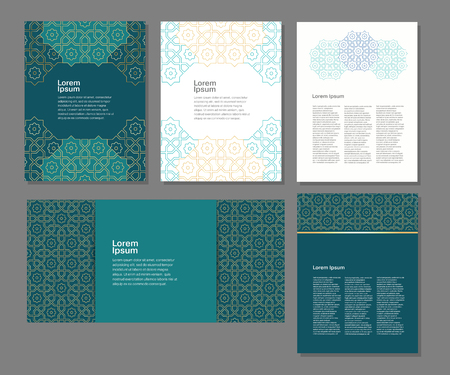 ornament vector: Banners set of templates with arabic ornament, vector illustration