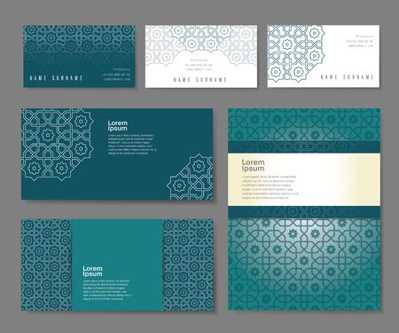 Banner set di modelli con l'ornamento arabo, illustrazione vettoriale