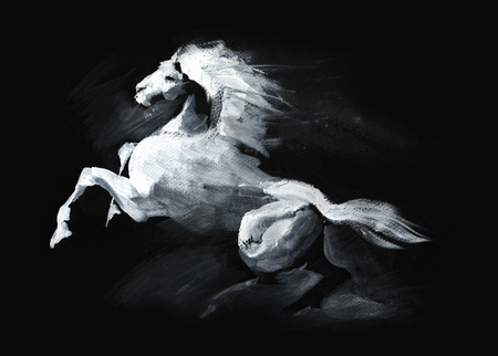 Illustration of white running horse on black background