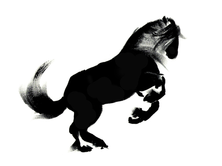 black and white image drawing: Illustration of running horse, black silhouette on white background