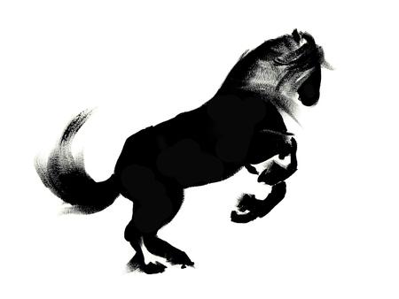 carreras de caballos: Ilustración de caballo que corre, la silueta en negro sobre fondo blanco Foto de archivo