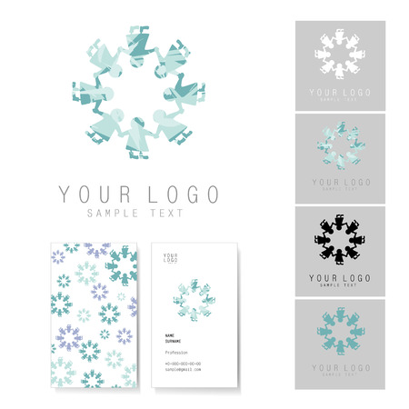 eskimo dog: Snowflake icon and visit card set, elements for corporate identity. Snowflake consists of people who are in circle.