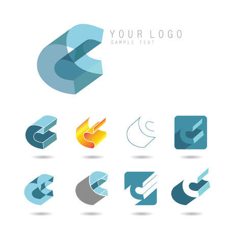 letter c: Set of letter C icons for corporate identity, element for sign and logo