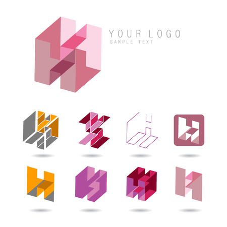 artistic logo: Set of letter H icons for corporate identity, element for sign and logo Illustration