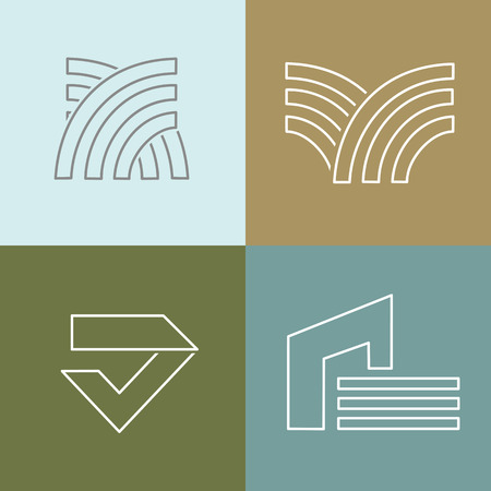 architecture: Vector set of logo design templates in trendy simple linear style - emblems and signs for architecture, bulding, construction company. Illustration