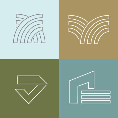 Vector set di modelli di progettazione logo in semplice stile lineare di tendenza - emblemi e le indicazioni per l'architettura, bulding, società di costruzioni.