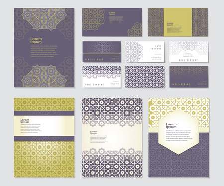 Set of templates with arabic ornament - brochures and business cards in islamic style