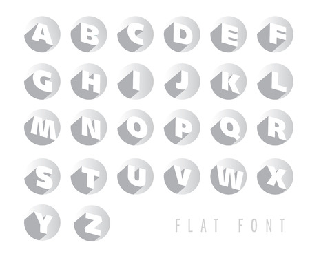 Flat letters of the alphabet with shadow effect, retro colors