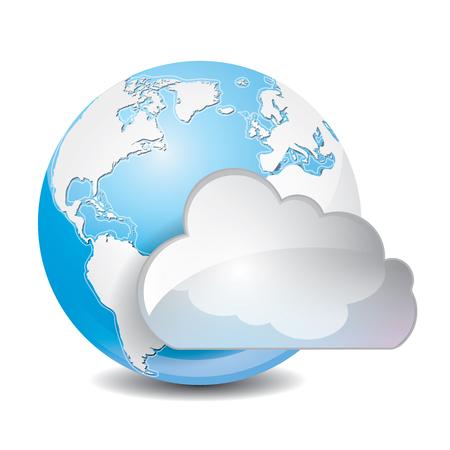 cloud based: illustration of cool cloud based sharing global concept icon Illustration