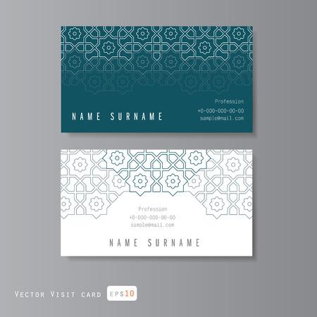 art frame: Visit cards set with Arabic ornament Illustration