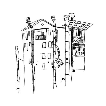 tree line: Vector city line landscape. Landscape, house sketch style, silhouette home, vector illustration Illustration