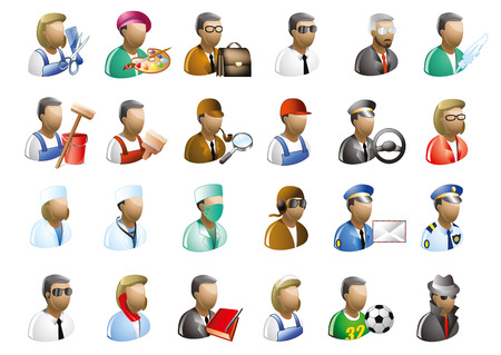 professions: Set of professions. Vector icon.