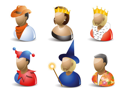 queen's theatre: Carnaval characters icon set, isolated on white background Illustration