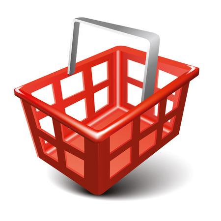 empty basket: Empty basket red color plastic, vector icon Illustration