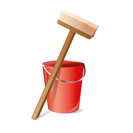cleansing: Vector icon whith gear for cleansing: map and bucket. Illustration