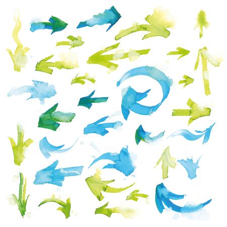 acquerello frecce colorate a mano, con sfocatura artistico, isolato su sfondo bianco. Vettoriali